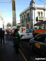 Testy zmiany organizacji ruchu (wyłączenia z ruchu samochodowego) wokół Plaza de Armas tj. ruchome drogowskazy a w pozostałej części centrum gigantyczne korki